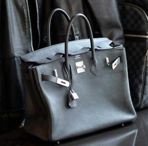 05b955b8cd HERMES Birkin BLACK 35cm Q 2013 leather ladies bag purse clemence 35 ...