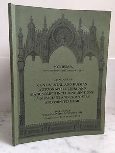 Catalogue Di Vendita Sotheby's Continental E Russian Autograph Novembre 1981