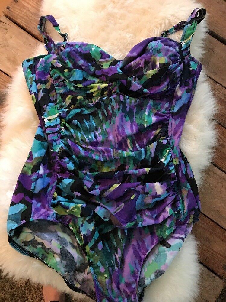 Trimshaper Women's Bathing Suit Floral Ruched Tummy Control 16 AF45