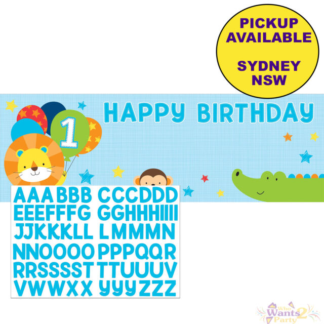 JUNGLE ANIMALS BOYS 1ST BIRTHDAY PARTY SUPPLIES PLASTIC GIANT BANNER DECORATIONS