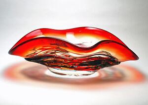 "BOWLS - MURANO GLASS RAVENNA CENTERPIECE BOWL - 18""L - ITALIAN ART GLASS"