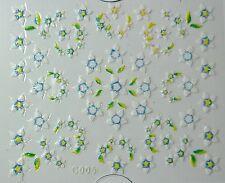 Accessoire ongles: nail art - Stickers autocollants - fleur blanche, verte ,bleu