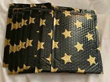 25 Gold Stars Black Designer 0 65x10 Bubble Mailers Mailing Shipping Bags