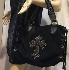 ❤️SCULLY WESTERN BLACK LEATHER & SUEDE SHOULDER PURSE BAG Embroidered Cross EUC