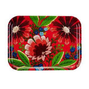 Swedish-Folk-Art-Flower-Sandwich-Tray-Red-Holiday-Christmas-11-034-x-8-034