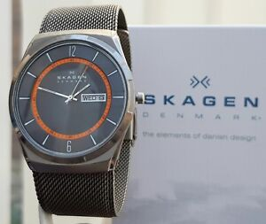 Mens-SKAGEN-Slim-Melbuy-Watch-TITANIUM-case-DAY-amp-DATE-MESH-Self-adjust-str-sk23