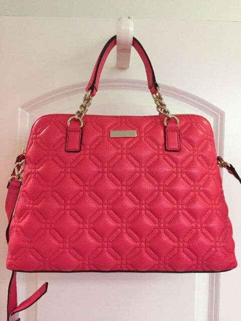 Small Race Geranium Quilted Leather