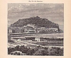Spain-Spanien-Baskenland-Donostia-San-Sebastian-Stich-Holzstich-um-1895
