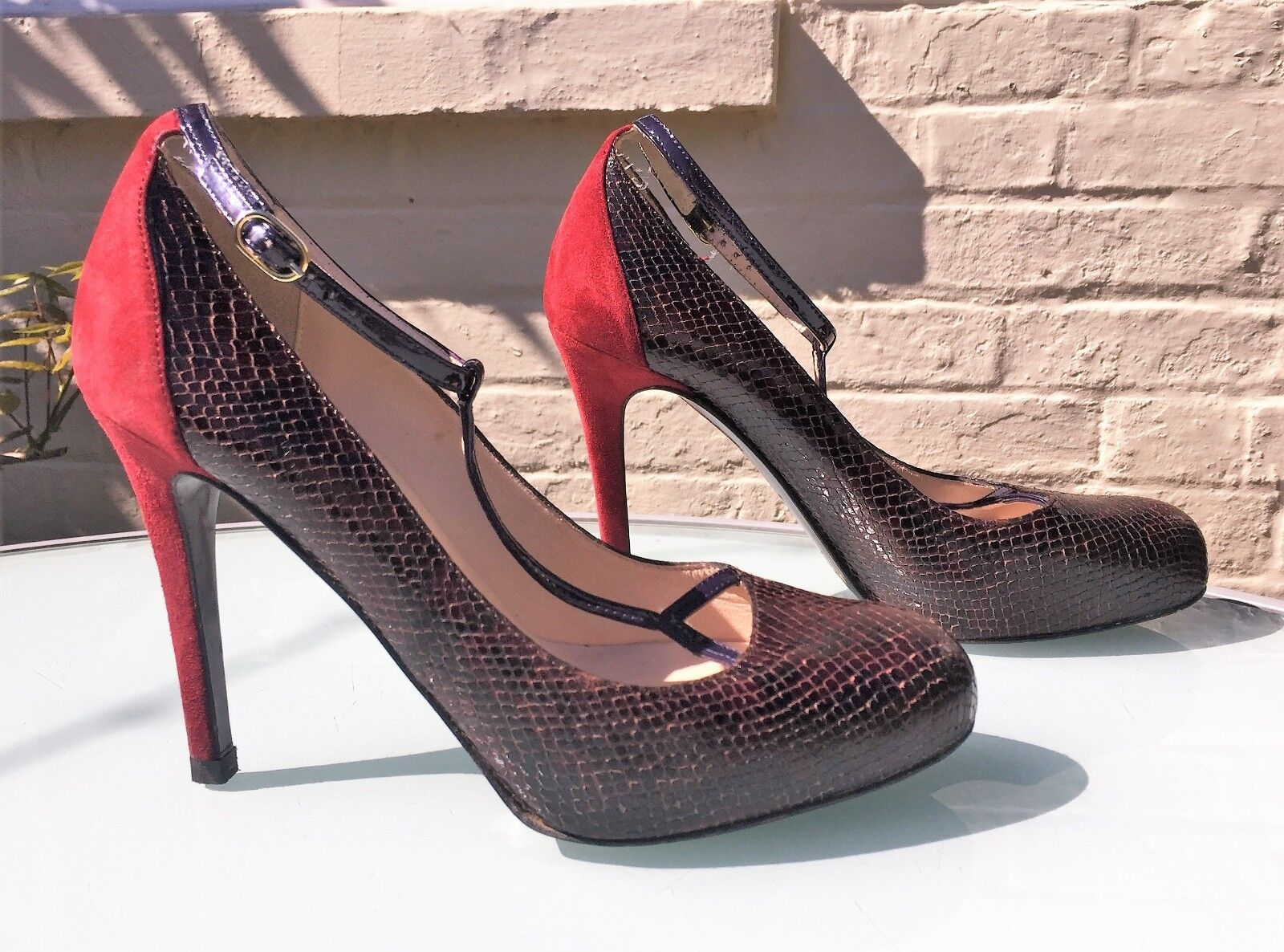 L.K. Bennett T Bar Heels - Wine Suede & Brown Snakeskin Effect - UK 4 - Stunning