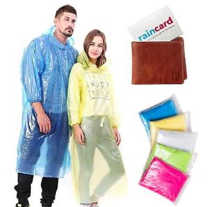 5x Rain Coat Rain Card Disposable Rain Poncho Unisex Waterproof Card Size Emerg