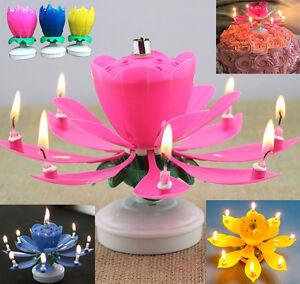 bougie musicale double lotus rotatif fleur soire g teau anniversaire romantique ebay. Black Bedroom Furniture Sets. Home Design Ideas