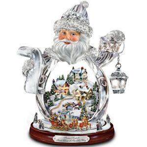 Thomas-Kinkade-Santa-Claus-Tabletop-Crystal-Figurine-Santa-Claus-Is-On-His-Way