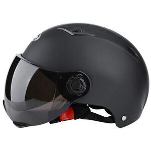 Bike Motorbike Safety Helmet Motorcycle Half Helmet w/Smoke Sun Visor Scooter