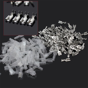 100Pairs 6.3mm Crimp Terminal Female Spade Connector with Clear Protect Case \