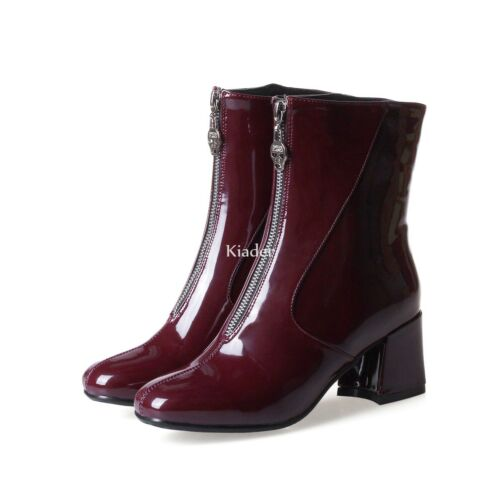 Womens Chic Front Zipper Patent Leather Chunky Heels Riding Ankle Boots Shoes Sz