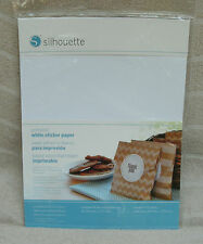 """Silhouette Printable White Sticker Paper. 8.5"""" x 11"""" Sheets 8 ct. ~ NEW"""