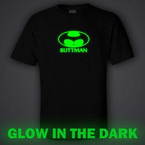 dfa5e8e5647e BLACK funny GLOW IN DARK T-shirt BUTTMAN batman superman superhero ...