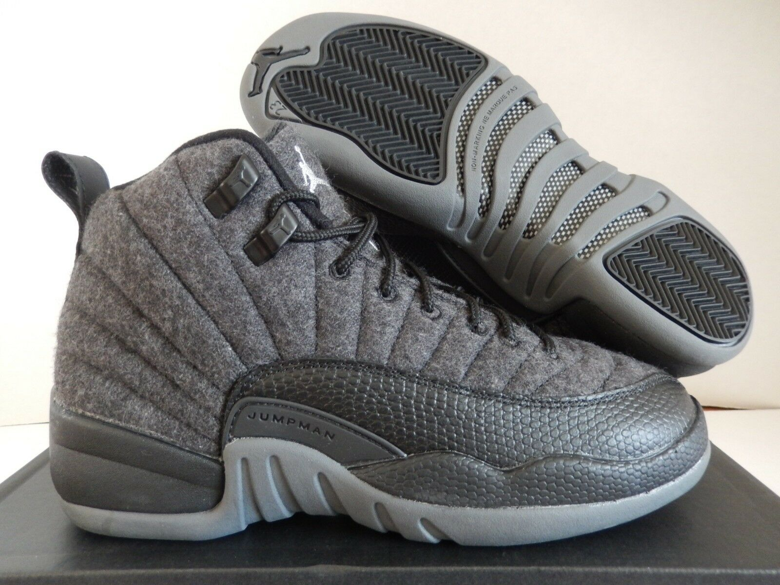 NIKE AIR JORDAN 12 RETRO WOOL BG DARK GREY SZ 5.5Y-WOMENS SZ 7