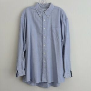 Brooks-Brothers-Mens-Size-17-1-2-Dress-Shirt-Blue-Relaxed-Fit-Button-Down-Oxford
