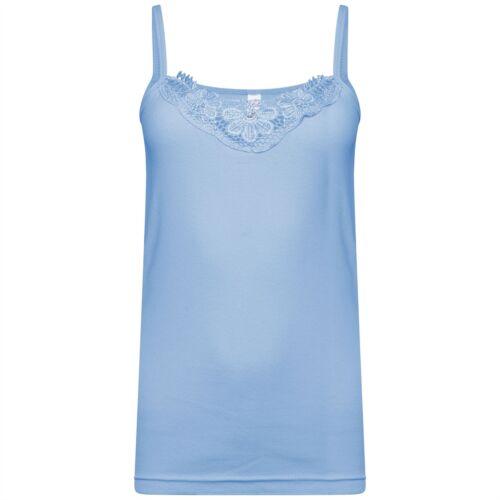 Ladies Plain Cotton Vest Top Lace Trim Neck Design Cami Tank Strappy Camisole