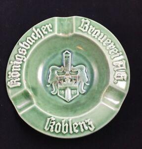 "Vintage German Green Ceramic Ashtray Konigsbacher Brauerei Koblenz Germany 6"""