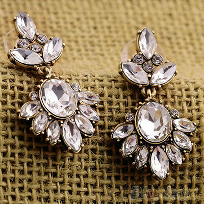 Celebrity Womens Crystal Insert Earrings Bridal Party Rhinestone Drop Ear Studs
