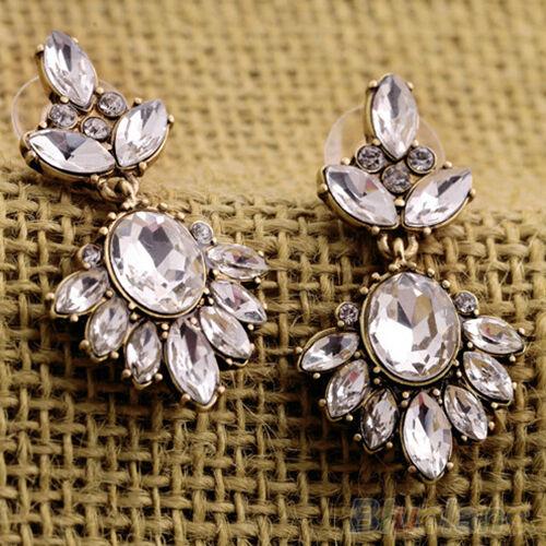 1 Pair Sumptuous Women Crystal Insert Earrings Party Rhinestone Dangle Ear Studs
