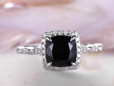 Nice 14k Solid Gold Ring Black Spinel Diamond Band Milgrain Ring Art Deco Djr0073 Fancy Colours Jewelry & Watches