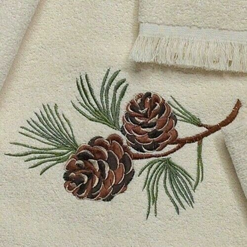 Avanti Linens Pine Creek Collection Luxury Embroidered Pinecone Bath Towels