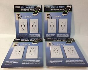 4 Packs Of 2 Pack Feit Electric Wall Outlets With 2 Usb