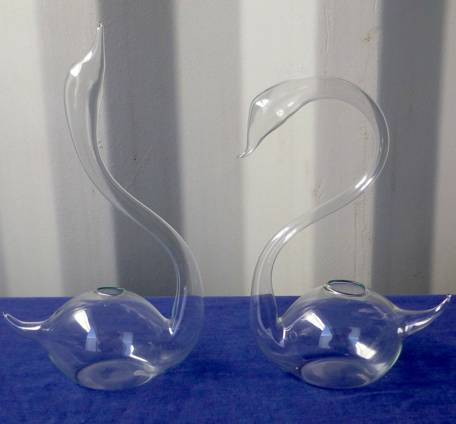 New Handblown Clear Glass Swan Vases Heads UP and or DOWN FREE SHIPPING