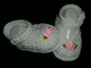 Gestrickte Baby Schuhe Ballerina Reborn Taufe NEU 100%Baumwolle Handarbeit