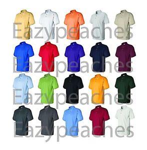 Hanes-ComfortSoft-Cotton-Blend-Pique-Polo-Sport-Shirt-055-Men-039-s-Size-S-6XL-Golf