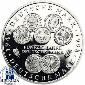 Brd 10 Dm 50 Jahre Deutsche Mark 1998 Silber Spiegelglanz Münze In