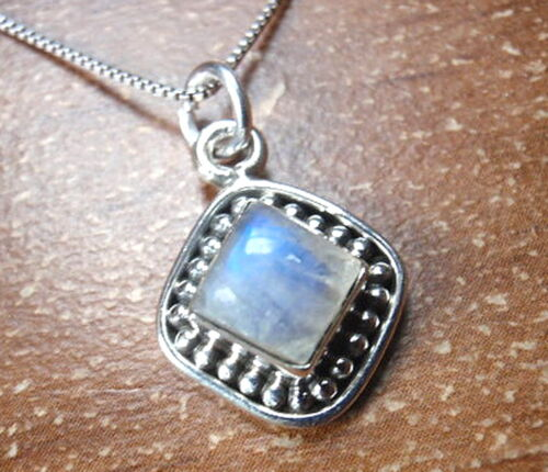Square Moonstone with Silver Dot Accents 925 Sterling Silver Pendant Corona Sun