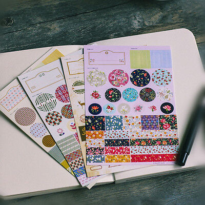 4 Sheet Garden Flower Scrapbooking Note memo Diary Planner Deco paper Sticker