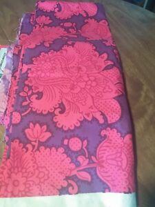 NOS-Parkertex-Vintage-Fabric-Pink-Purple-Damask-Floral-4-yds-60s-70-heavy-cotton