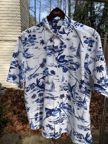 Ralph Lauren Polo Hawaiian Shirt 2XB Aloha White a