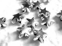 50 TIBITAN SILVER STAR SPACER BEADS 6mm x 3mm