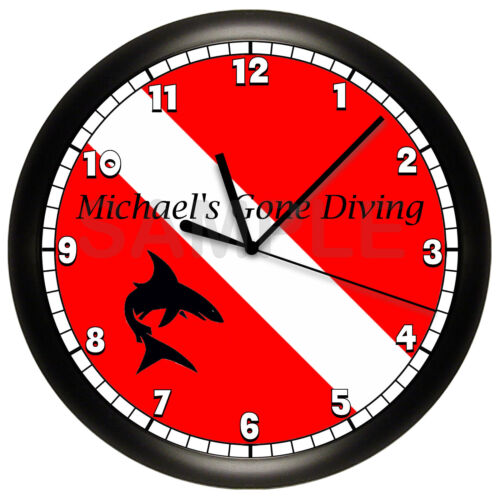 SCUBA DIVING FLAG WALL CLOCK PERSONALIZED GIFT DECOR DIVER SHARK RED WHITE 10 IN