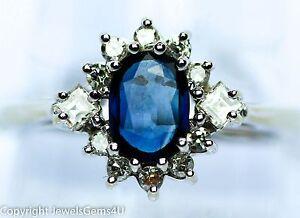 1 01ct sapphire diamond 14k white gold princess diana style engagement ring ebay ebay