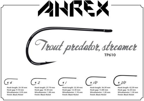 AHREX TP610 Trout Predator #1//0 black nickel 12 Haken TROUT PREDATOR  #1//0