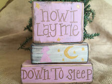 Now I Lay Me Down To Sleep with Girl Moon and Stars Shelf Sitter Wood Block Set