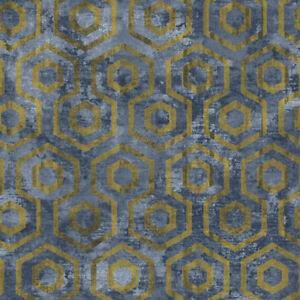 9859 concetto bleu or g om trique hexagonal galerie papier peint ebay. Black Bedroom Furniture Sets. Home Design Ideas