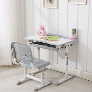 Image is loading Grey-Adjustable-Children-039-s-Desk-and-Chair- & Grey Adjustable Childrenu0027s Desk and Chair Set Child Kids Study Table ...