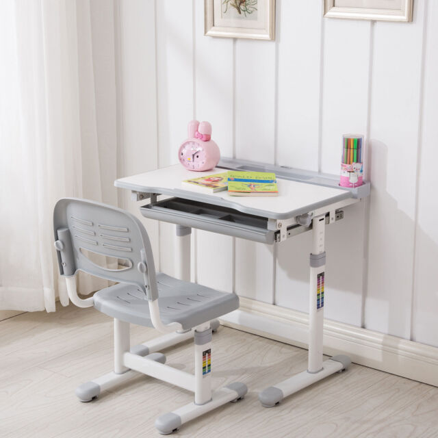 Awesome Grey Adjustable Childrens Desk And Chair Set Child Kids Study Table Set Andrewgaddart Wooden Chair Designs For Living Room Andrewgaddartcom