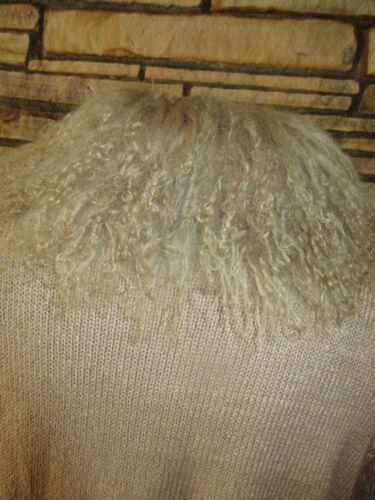 Curly Sz Beige Trim M Lamb Lisa Cardigan Sweater International aXWqTg