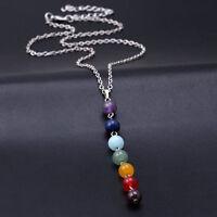 Women  7 Chakra Beads Pendant Necklace Yoga Reiki Healing Balancing Necklaces