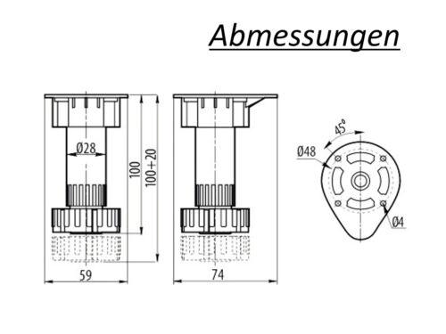 100mm Sockelhöhenversteller Sockelfuß Stellfuß Möbelfuß mit Höhenverstellung H