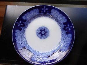 Antique-Persian-Moss-Flow-Blue-Porcelain-Plate-made-in-Germany-1890-039-s-Clean